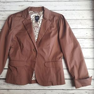 GAP Brown Classic Blazer With Fold Over Pockets 6